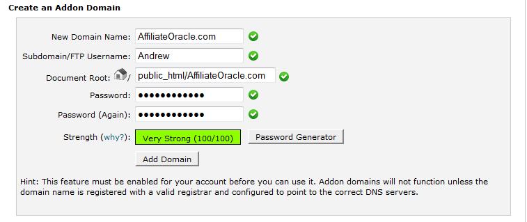 addon domain 2 cpanel