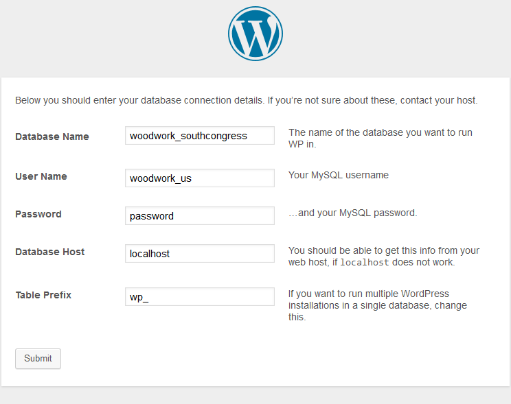 wordpress configuaration database