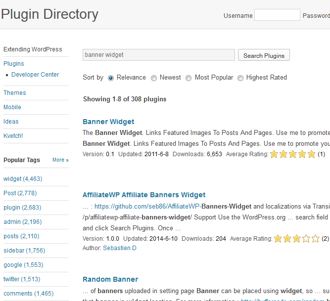 banner widget search